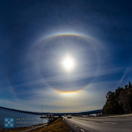 Solar halo over bridge